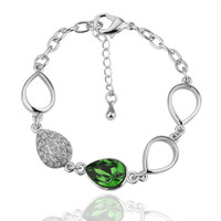 Lady's Brass Pear Shaped Link Bracelet / Anklet with Center Green Swarovski Elements Stone and Adjacent Link with Clear Stones