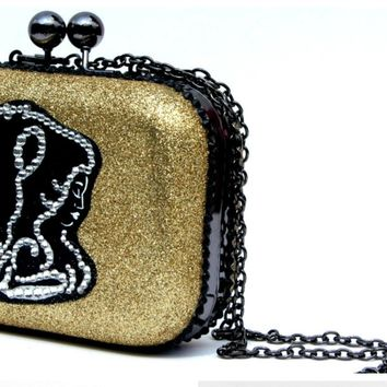 Beauty and the Beast Glitter and Crystal Clutch