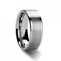 PERSONA Flat White Tungsten Wedding Band with Brushed Finished Center