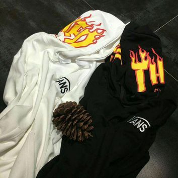 MDIGON Vans x Thrasher Pullover Hoodie Flame joint paragraph sweater