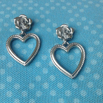 Rose and Heart Silver Pierced Earrings Brighton Inspired