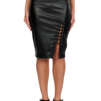 Leather-Effect Pencil Skirt