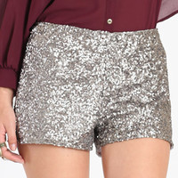 Light Up the Night Sequin Shorts in Silver : ThreadSence.com, Your Spot For Indie Clothing  Indie Urban Culture