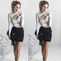 White Cross Halter Neck Long Sleeve Crop Top