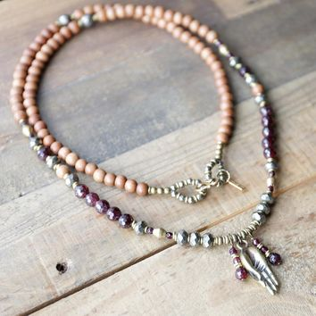Sandalwood and Garnet 108 Bead Mala Necklace - Love and Perseverance