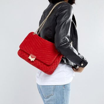 Valentino by Mario Valentino Quilted Shoulder Bag in Red at asos.com