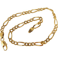 Figaro link chain, 18K solid gold curb elongated links, stamped fine jewelry, Circa 1960s, unisex gift
