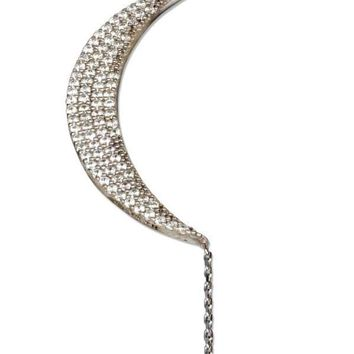 "STERLING SILVER 16""-18"" ADJUSTABLE MICRO PAVE CUBIC ZIRCONIA CRESCENT MOON WITH STAR NECKLACE"