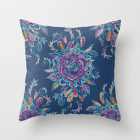 Deep Summer - Watercolor Floral Medallion Throw Pillow by Micklyn