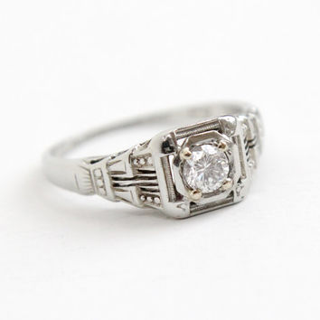 Antique 18k White Gold Art Deco 1/5 Carat Solitaire Diamond Ring - Size 6 1/2 Vintage Filigree Dated 1929 Fine Engagement Bridal Jewelry