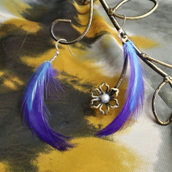 Dark Purple Feather Earrings with Periwinkle Blue Accent Feather