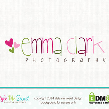 Premade Photography Heart Logo Small Business Branding Watermark Design