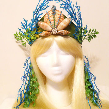 Mermaid Crown, Tiara, for a Princess, Queen of the Sea, Mermaid Costume, Sparkling, Turquoise, Green, Rhinestones, Shells, Pearls, Ocean
