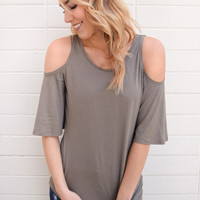 Cascades Open Shoulder Top Sage