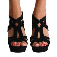 Top Moda Black Strap Wedges