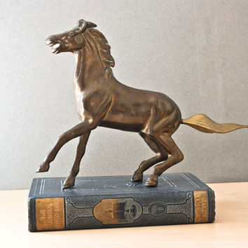 Vintage Solid Brass Rearing Horse, Mid Century, Animal Statue, Equestrian, Derby, Western
