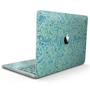 Aqua Damask v2 Watercolor Pattern - MacBook Pro with Touch Bar Skin Kit