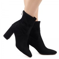 Anna Mid Calf Ankle Boots In Black Faux Suede