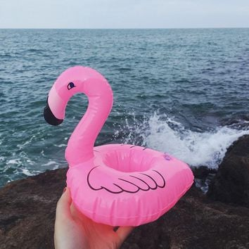Summer Swimming Pool Floating Inflatable Flamingo Holder Water Drinks Cup Beach Mobile phone Cup Care Floating Row