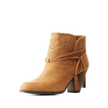 Qupid Tassel-Wrapped Laser-Cut Booties