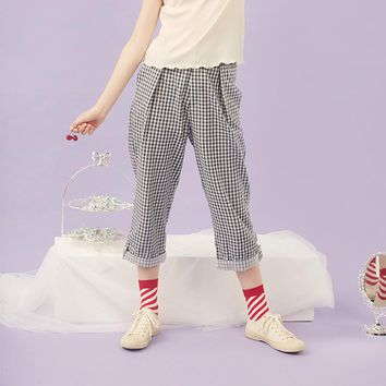 Vintage Summer New Ladies Cotton Calf Length Pants Blue Plaid Printed Letters Embroidery Cuffs Elastic Waist Women Capris Loose