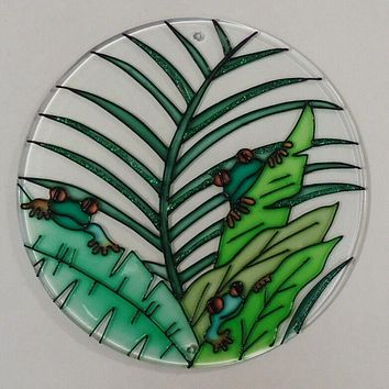 Painted Glass Sun Catcher Tree Frogs Qty 4 Window Hang 2 Holes CL29