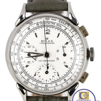 Vintage 1938 Rolex 4313 Chronograph Anti-Magnetique Stainless White 36mm Watch