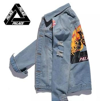 off whites Jeans Jacket Men Triangle Flame Fire Palace Jackets military bomber sup jacket chaqueta hombre Purpose Tour kanye yeezus Jacket