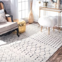 nuLOOM Geometric Moroccan Trellis Fancy Grey Area Rug (5' x 7'5) | Overstock.com Shopping - The Best Deals on 5x8 - 6x9 Rugs