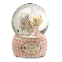 Precious Moments Jesus Loves Me Pink Waterglobe