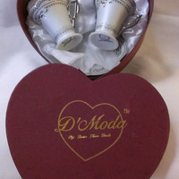 D'Moda Fine Porcelain China Espresso Set in Heart Shaped Gift Box  (687)