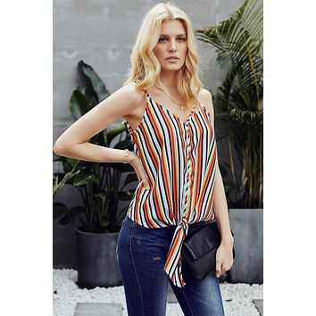 Multicolor Striped Sleeveles Summer Cami Top