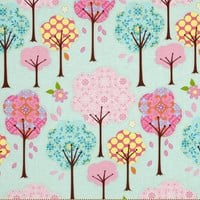 Girl Baby Bedding, Fitted Crib Sheet, Girl Nursery, Blue Crib Sheet,  Baby Girl Nursery Bedding, Pretty Little Things Trees