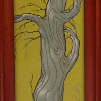 grey and green tree drawing in red frame by resonanteyes on Etsy