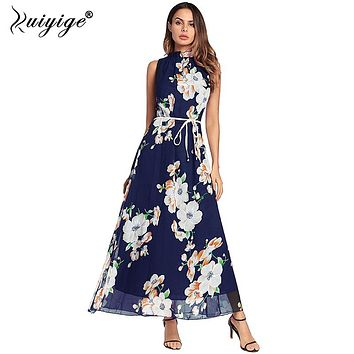Ruiyige 2018 Women Summer Chiffon Boho Style Off Shoulder Long Floral Print Dress Elegant Party Belt Maxi Beach Vestido de festa