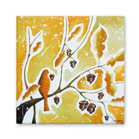 Bird in Tree Original Acrylic Painting on Canvas, Oak Leaf Tree Art Bird Art Wall Decor, Brown Orange Earth Tones 12x12