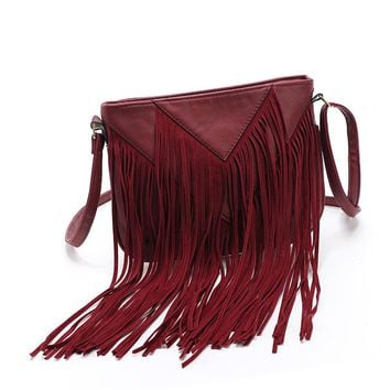 New List Product Women Fringe Tassels Bag Black Leather Shoulder Handbag Charm Beach Ladies Messenger Tassel Crossbody Bags Hot