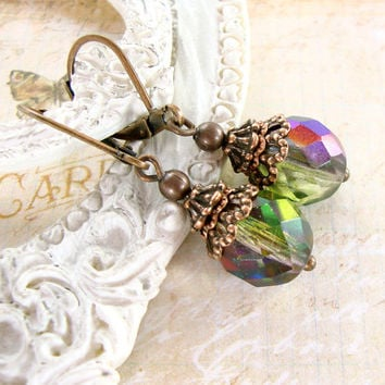 Iridescent Victorian Peacock Earrings - Peacock Colors Copper Filigree Unique Beads Copper Jewerly Peacock Wedding Bridesmaid Jewelry