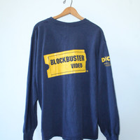 BLOCKBUSTER VIDEO SHIRT // size small // 90s // long by GUTTERSHOP