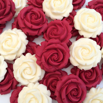 RUBY CREAM ROSES edible sugar paste flowers cupcake decorations toppers
