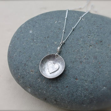 Heart necklace sterling silver. Silver heart charm. Hammer textured. Cupped shape. simple clean design. bridesmaids.