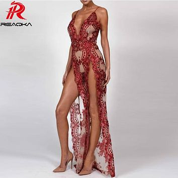 2018 Sexy Women Sequins Maxi Long Dress Summer Strap Plunge V Backless High Split Luxury Nightclub woman Party Dresses Vestido