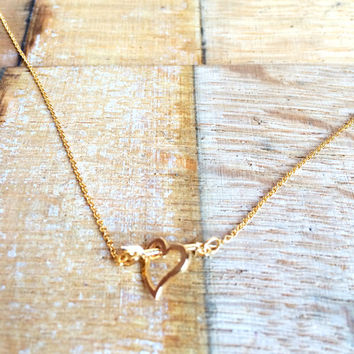 Dainty Gold Heart and Arrow Necklace, Cupid Necklace, Love Struck Necklace, Perfect Gift for Her