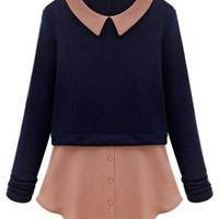 ROMWE | ROMWE Color Block Navy-blue Blouse, The Latest Street Fashion