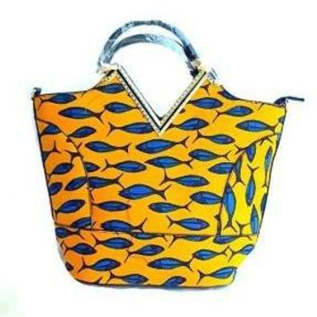 Macey Yellow African Print Tote Bag