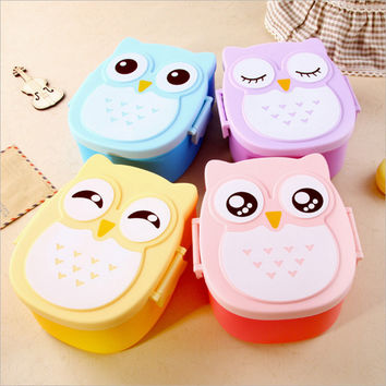 Cartoon Owl Lunch Box Food Container Storage Bento Microwave for Children