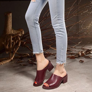Handmade Leather High-Heeled Shoes for Women,Vintage Pumps,Summer Leather Slipper ons,Red Vintage shoes