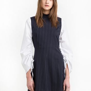 Ruched Sleeves Pinstriped Dress - 15% OFF