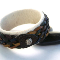 Upcycled Bangle Wrapped with Brown Leather Braid