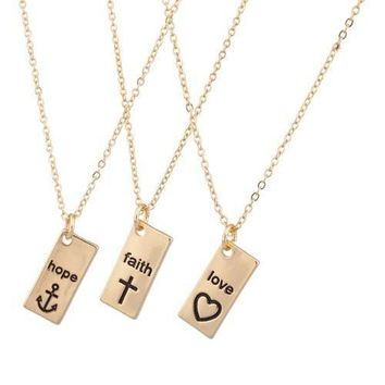 Hope Faith Love Anchor Cross Heart BFF Best Friends Necklaces
